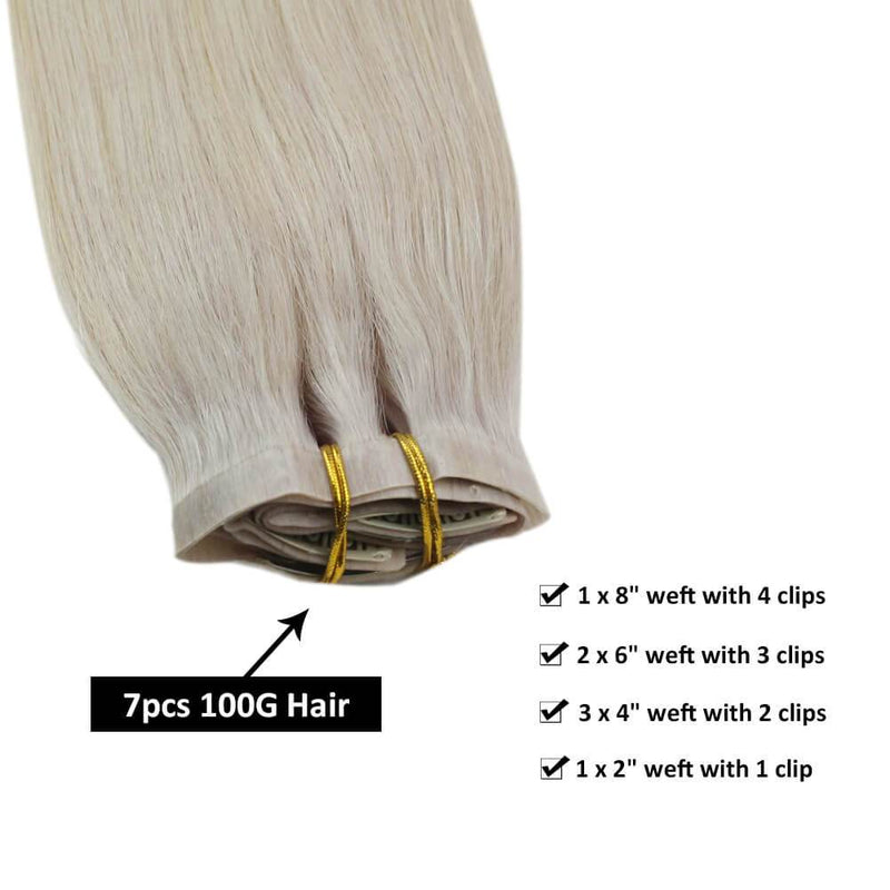 Real Hair Extensions Clip in Human Hair Blonde Hair Extension