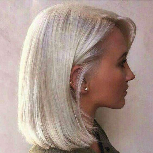 Cheap Human Hair Bob Wigs Lace Front Bleach Blonde Color Bob Style #613-UgeatHair