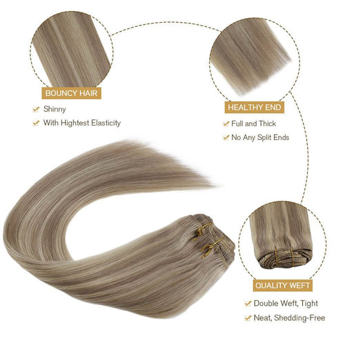 Clip in Human Hair Extensions Double Weft