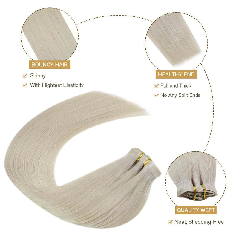 Remy Hair Extensions Full Head 7Pieces 120g PU Clip Extensions