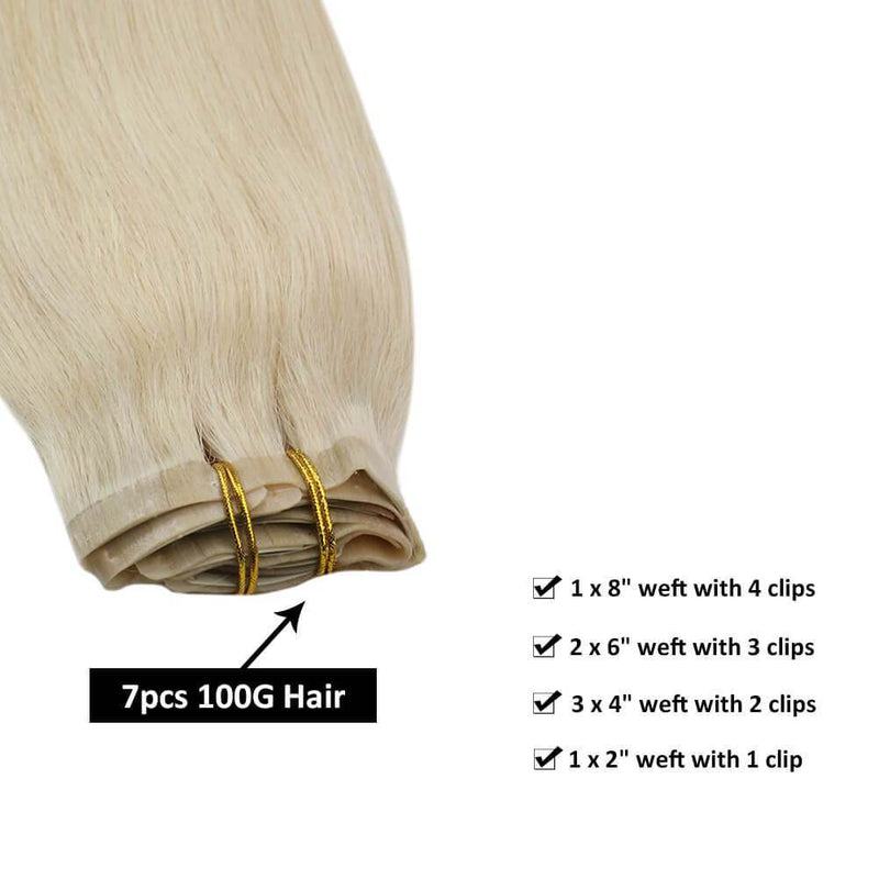 Platinum Blonde #60 Clip in Double Weft Human Hair