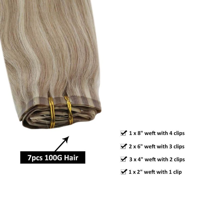 Natural Hair Extensions Clip ins Blonde Mixed Extension Pu Clip in Hair