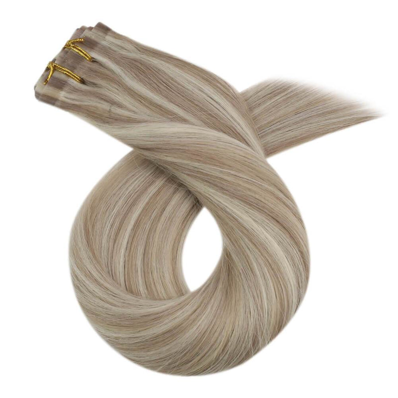 Natural Hair Extensions Clip ins Thick Human Hair Ash Blonde Mixed Extension