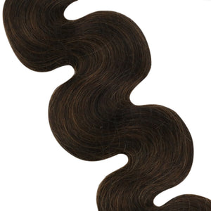 Body Wave Seamless Hair Extensions Brown with Light Brown Glue in Hair (2/6/2)