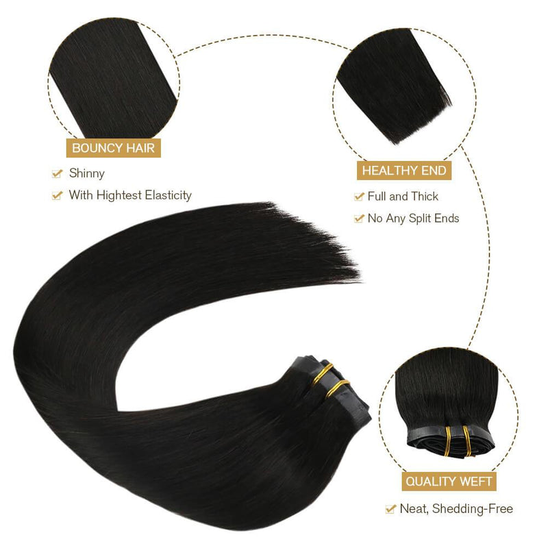 Full Head 7P Thick Hair Clip in Extension PU Clips Double Weft