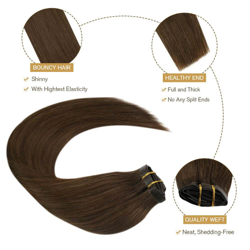 Human Hair Medium Brown #4 7PCS 120G Thick Hair from Top to End
