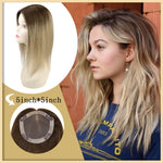 "Ombre Human Hair Topper Invisible Hair Pieces For Women Toupee 18"" Color #3 Dark Brown Fadint to Color #8 and #22 Hand-made Tied Mono Hair Toppers"