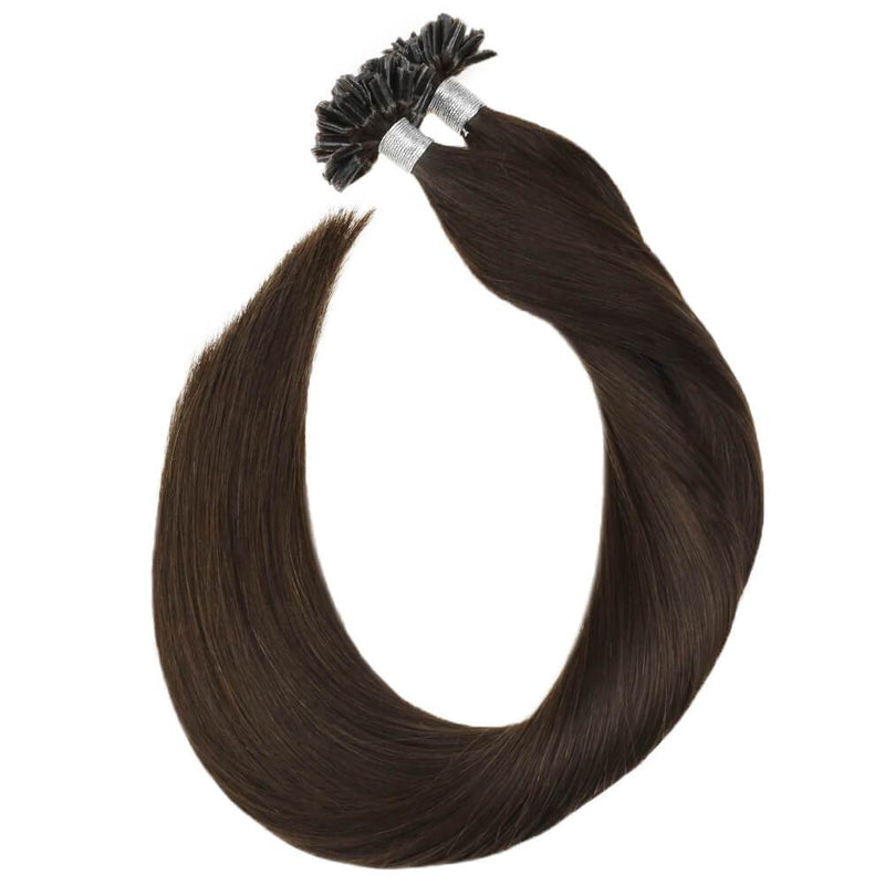 Fusion Hair Extensions Human Hair Darkest Brown Color #2 U Tip Hair
