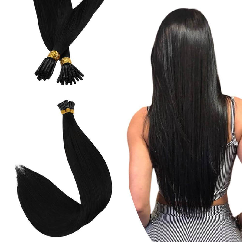 Virgin I Tip Hair Extensions Human Hair Keratin Hair Jet Black #1