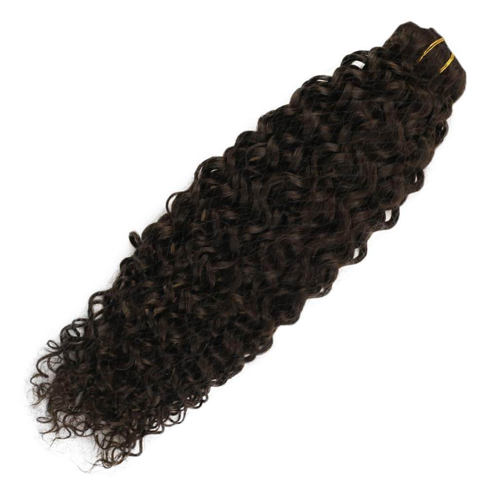 Natural Wave Clip in Afro Curly #2 Brown Human Hair Extensions