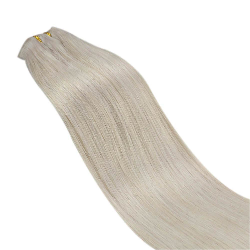 Blonde Clip in Hair Extensions Straight Hair White Blonde