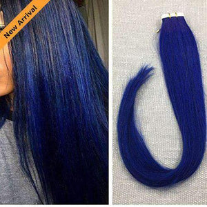 Tape in Bule Color Seamless Skin Weft Remy Human Hair Extensions #blue-UgeatHair