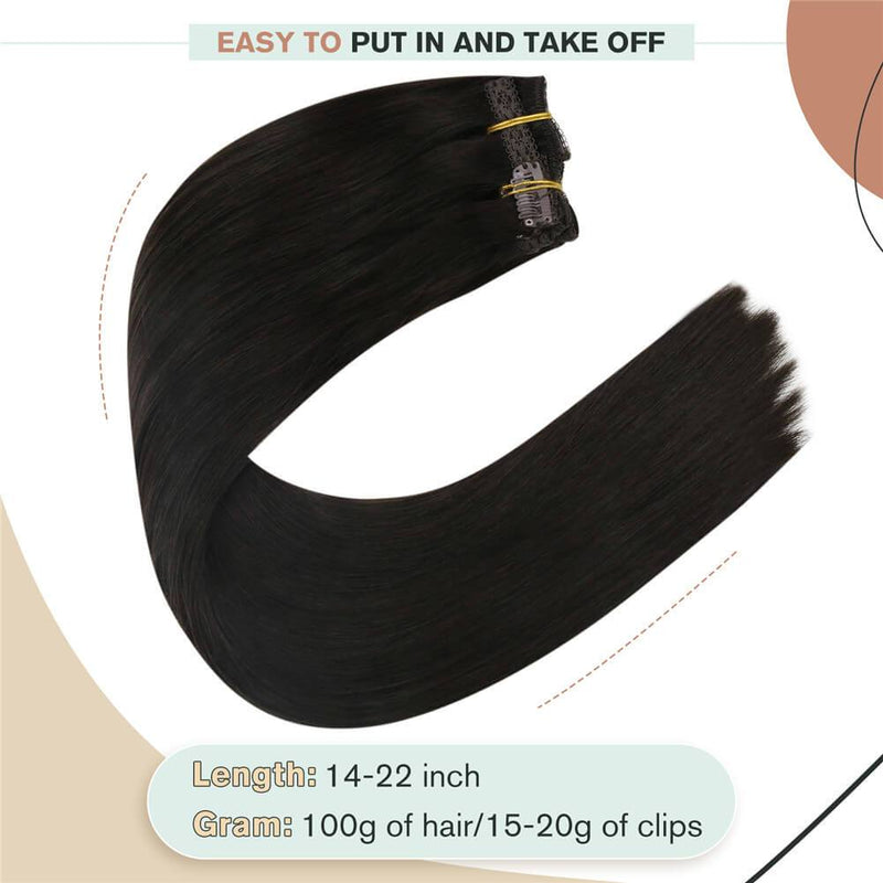 Hair Clip in Human Hair Extensions 16inch Thick Hair Extensions Clip in Real Human Hair