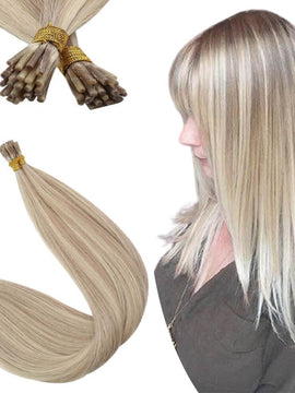 Virgin Real Human Itip Hair Extensions Ash Blonde with Blonde P18/613