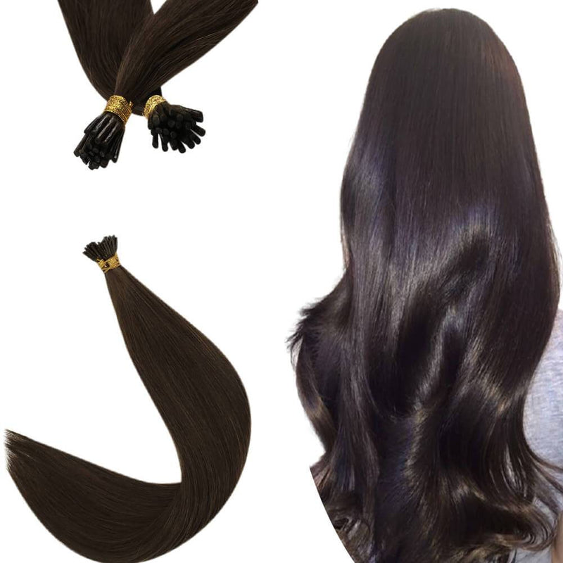 Virgin Hair Pre Bonded Hair Extensions Darkest Brown I Tip Hair #2