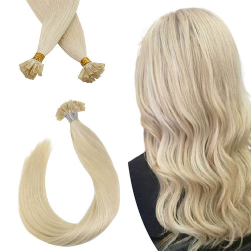 Virgin Human Hair U-tip Fusion Hair Extensions Platinum Blonde #60