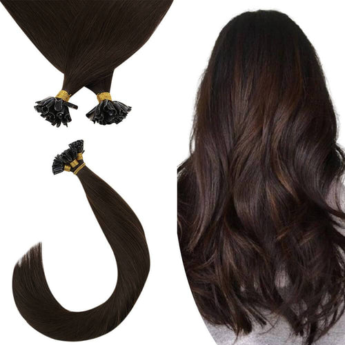 Virgin U tip Hair Extensions Dark Brown Color Remy Human Hair #2