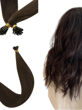 Dark Brown Virgin Hair Keratin Hair Natural I Tip Hair Extensions #4