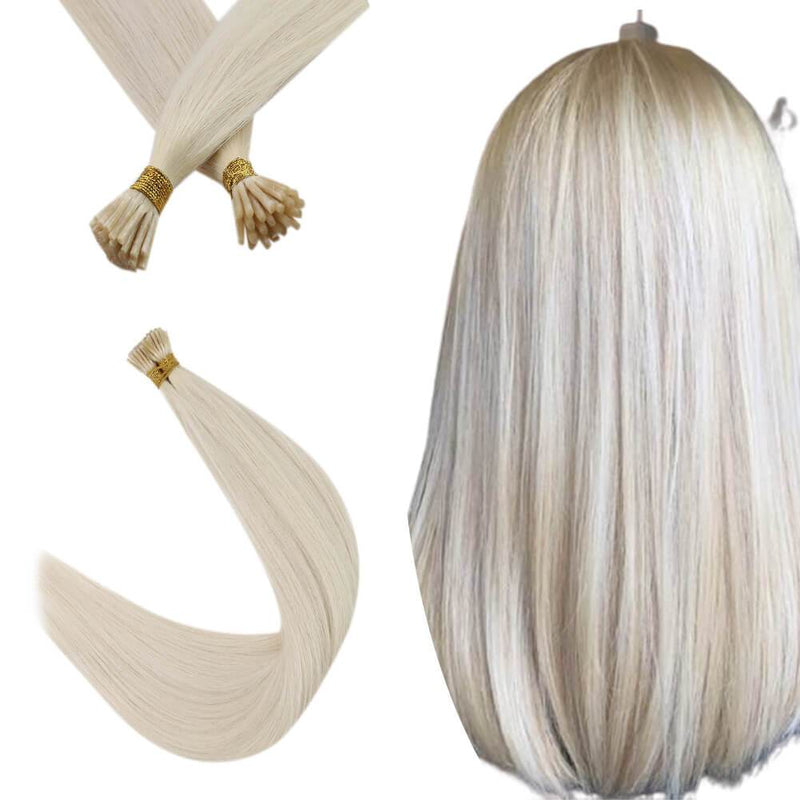 Products Platinum Blonde I Tip Hair Extensions Virgin Fusion Hair Extensions #60