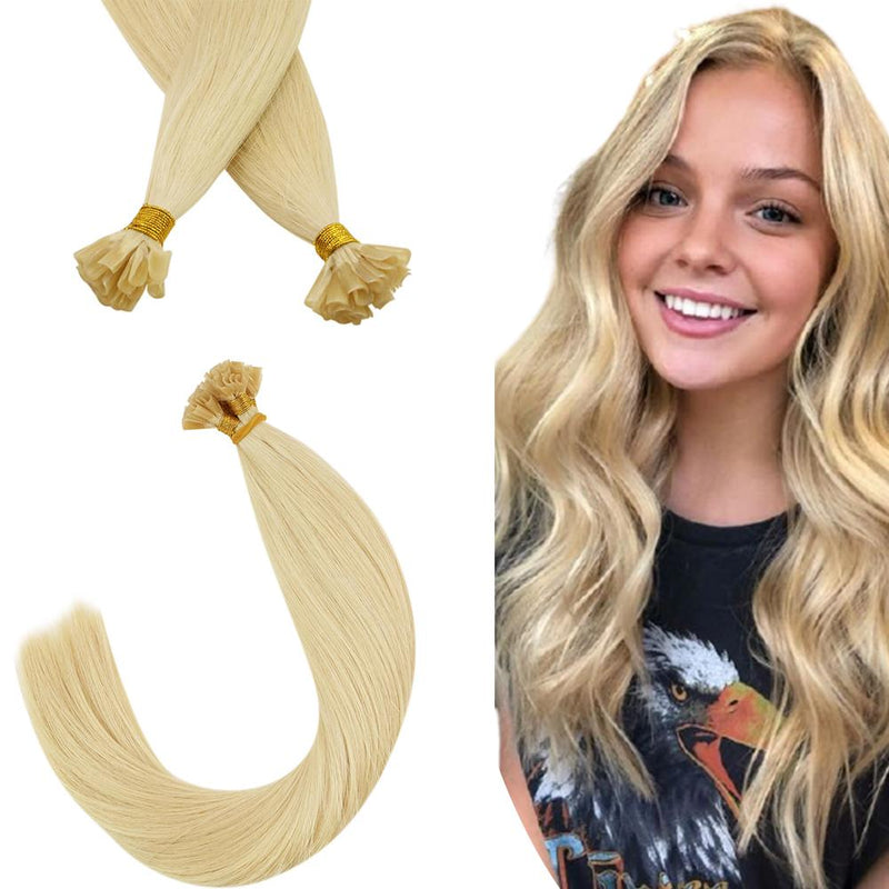 Virgin Human Hair U-tip Fusion Hair Extensions Bleach Blonde #613