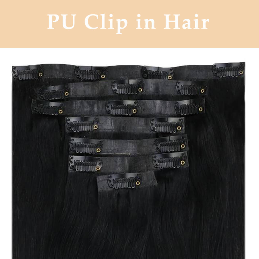 Invisible pu clip in hair extensions