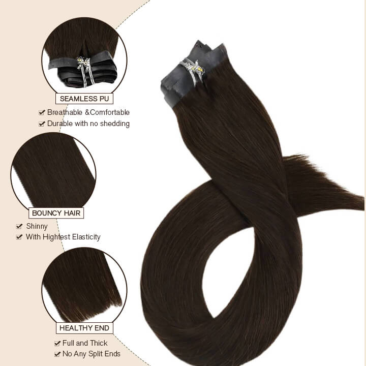Seamless pu clip in hair extensions