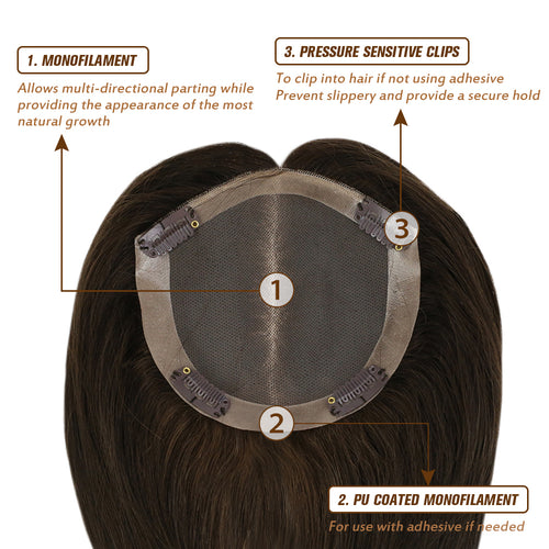 Human hair topper for crown