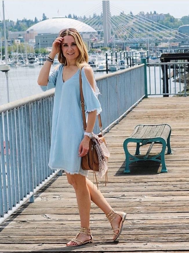 Glam Unfinished Cold Shoulder Dress - MissionEdit