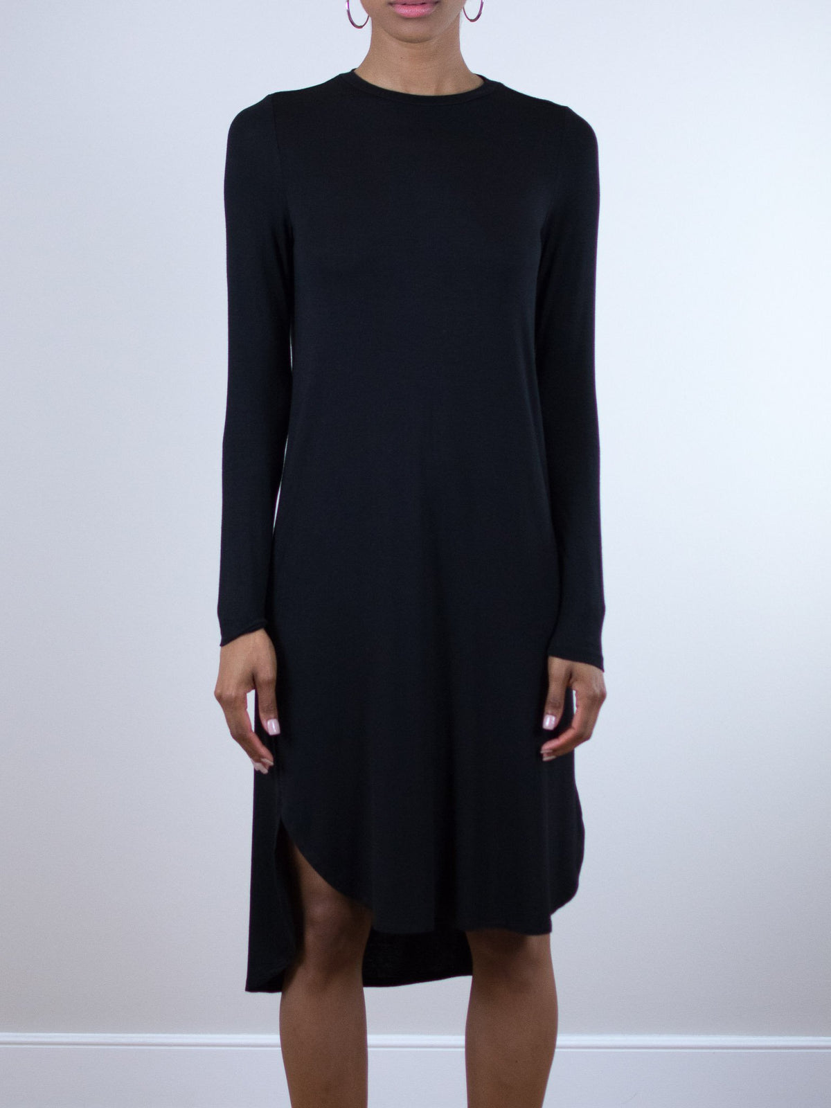 BLQ Basiq Black Long Sleeve Loose Dress - MissionEdit