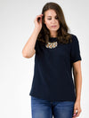 Ginia\RTW Iris Silk T-shirt in Navy - MissionEdit