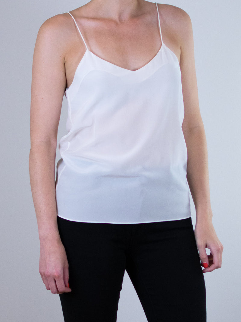 Ginia\RTW Eva V-Neck Silk Cami in White - MissionEdit