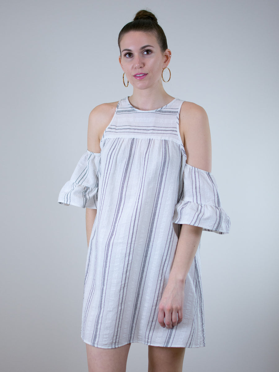Glam Stripe Gauze Cold Shoulder Ruffle Dress - MissionEdit