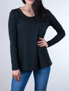 Indigenous Organic Black Scoop Neck Slub Pullover - MissionEdit