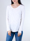 Indigenous Organic White Scoop Neck Slub Pullover - MissionEdit