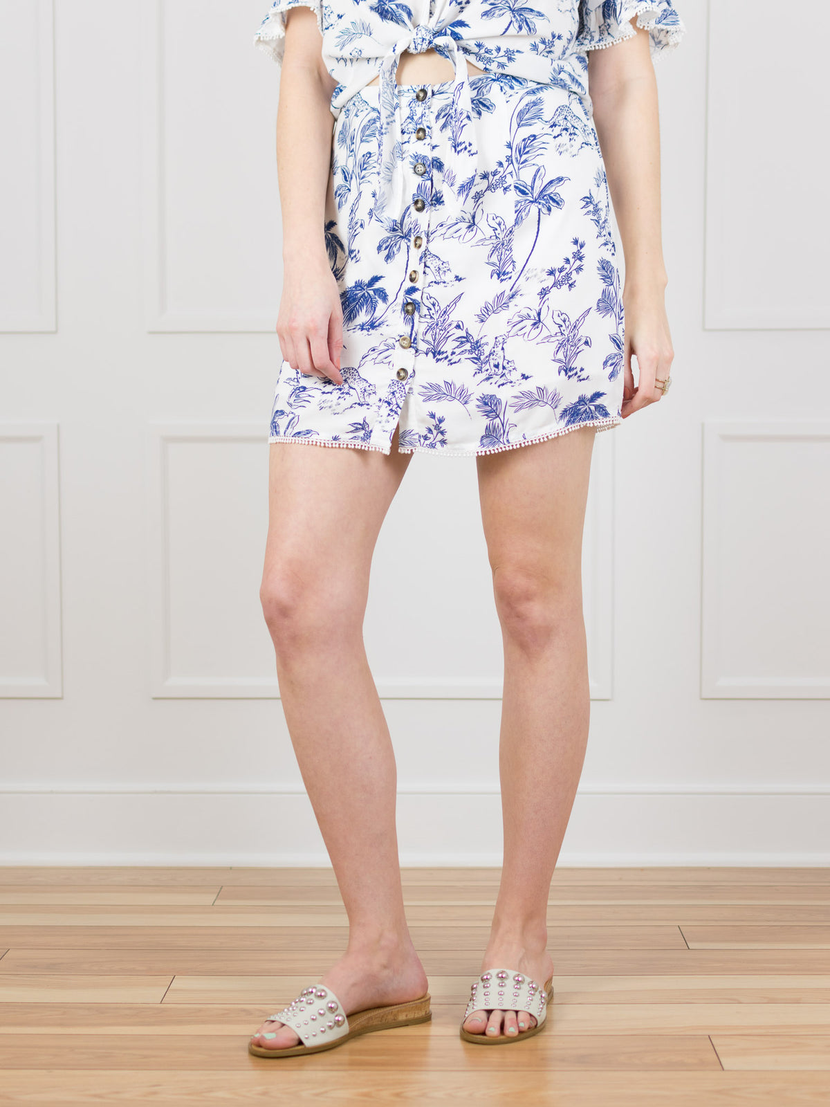 Blue Palm Nights Mini Skirt