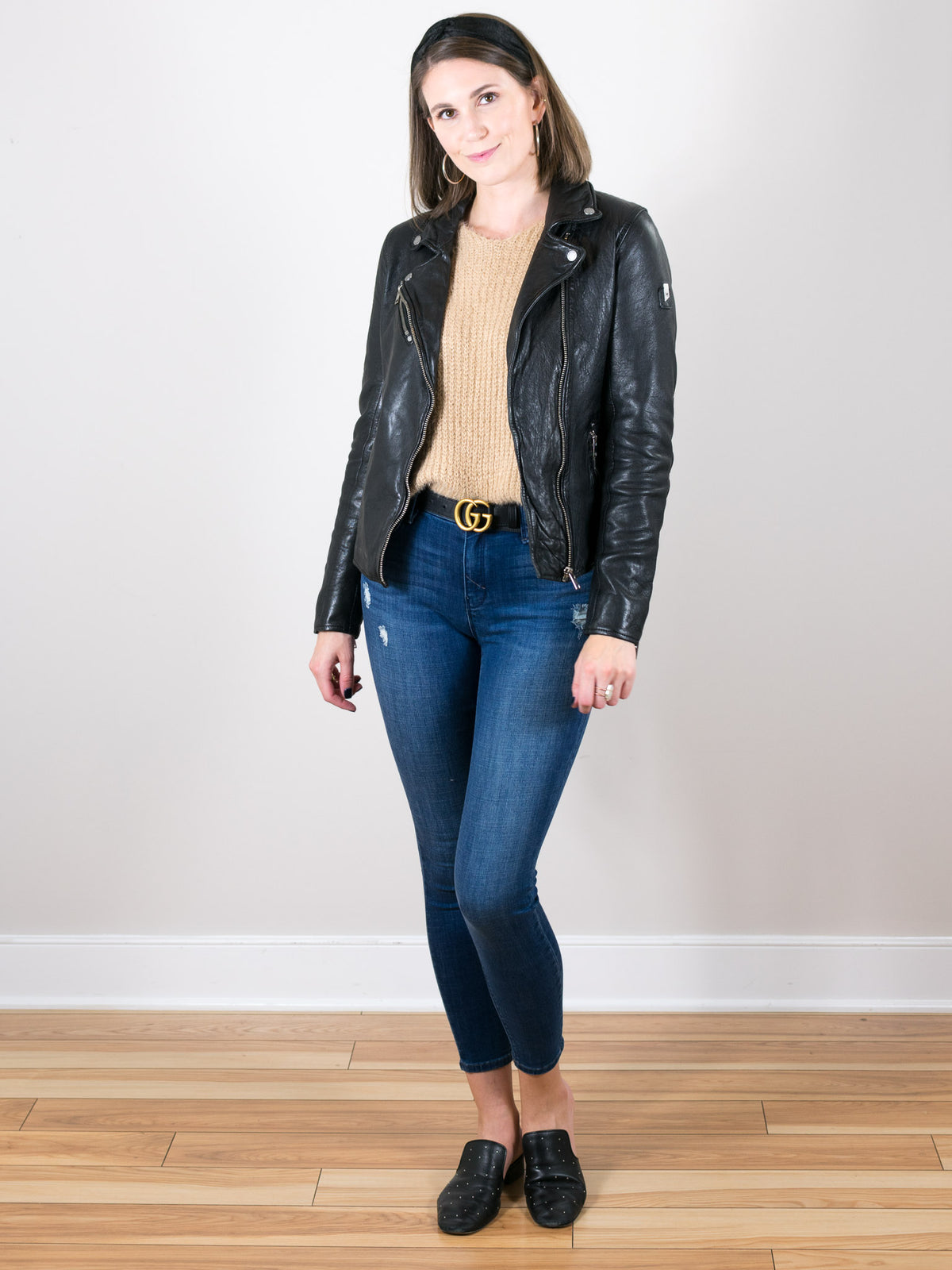 Sofia Black Leather Lambskin Moto Jacket