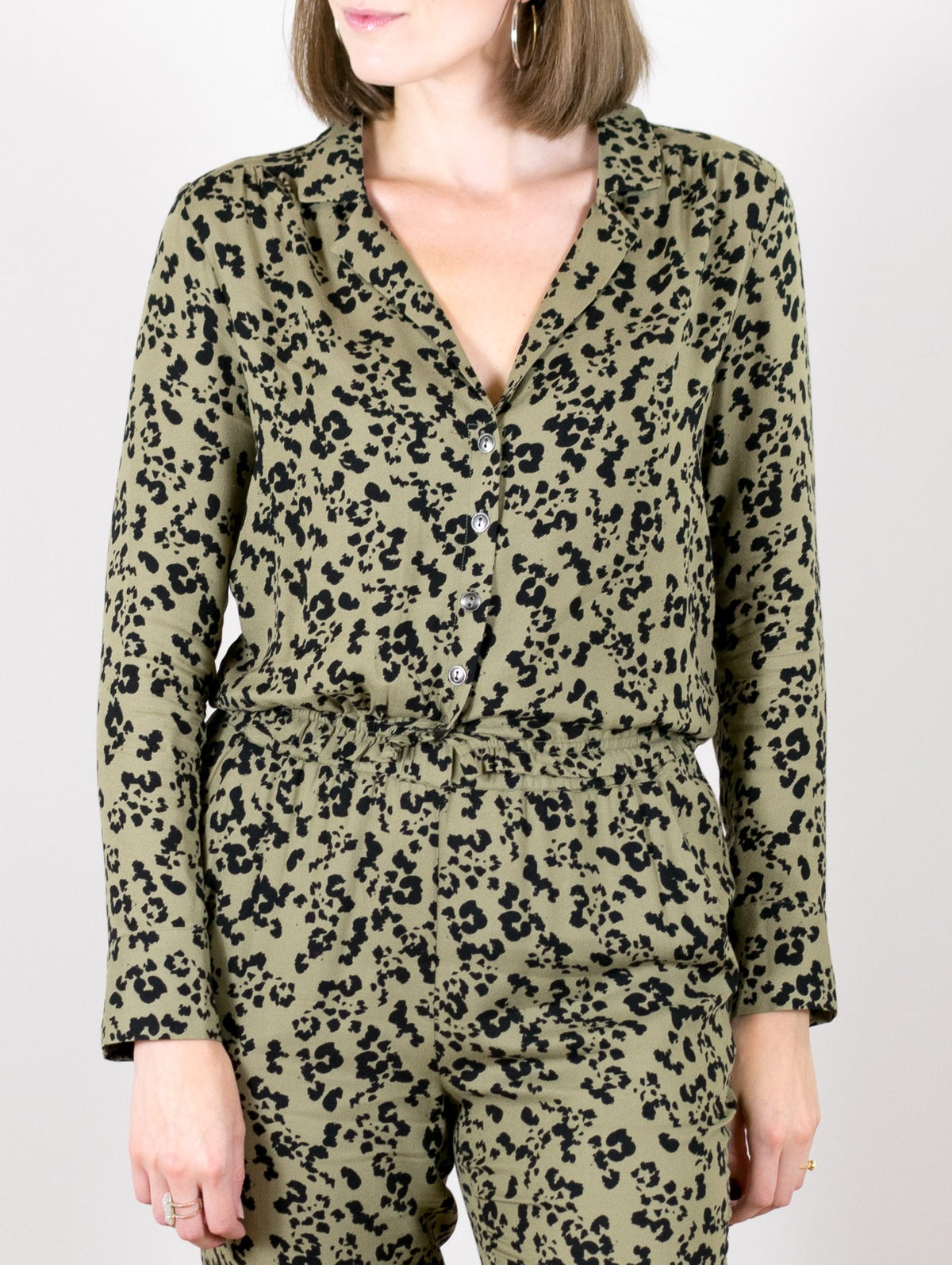 Leopard Collared Button Front Blouse