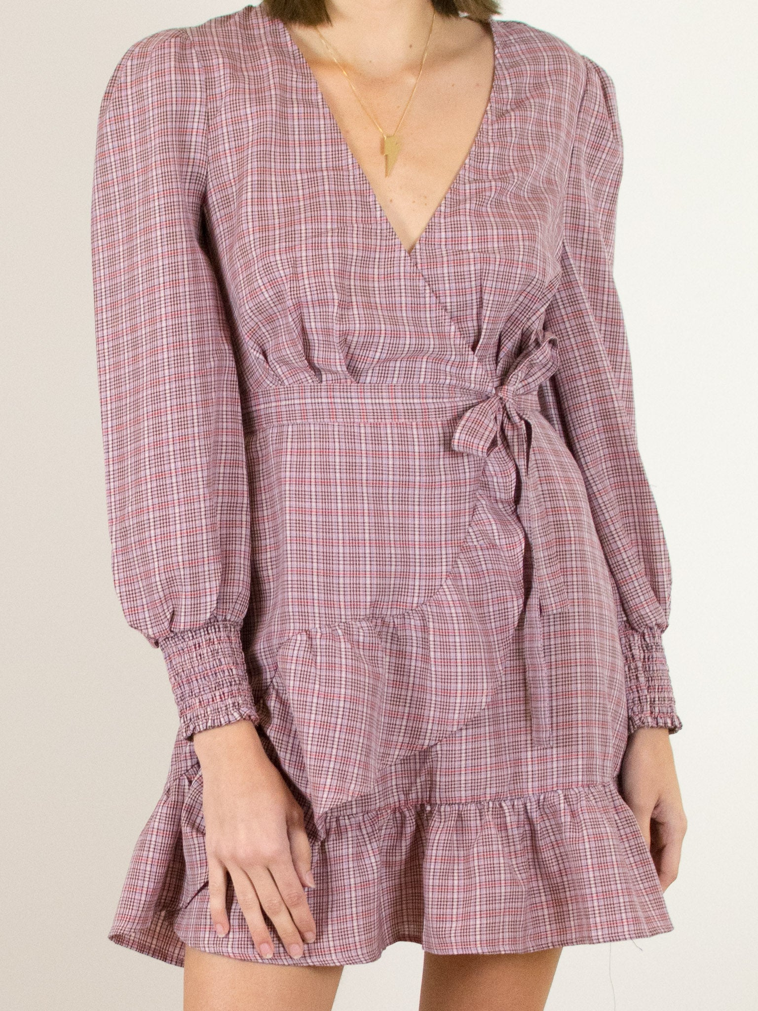 The Fifth Label Collegiate Check Wrap Dress - MissionEdit