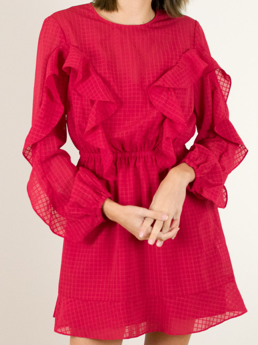 The Fifth Label Window Long Sleeve Dress in Berry - MissionEdit
