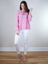 Three Eighty Two Ella Ruffle Front Long Sleeve Blouse - MissionEdit