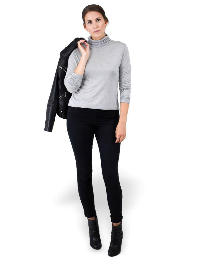 Twenty Tees T-neck Long Sleeve Shirt in Heather Grey - MissionEdit
