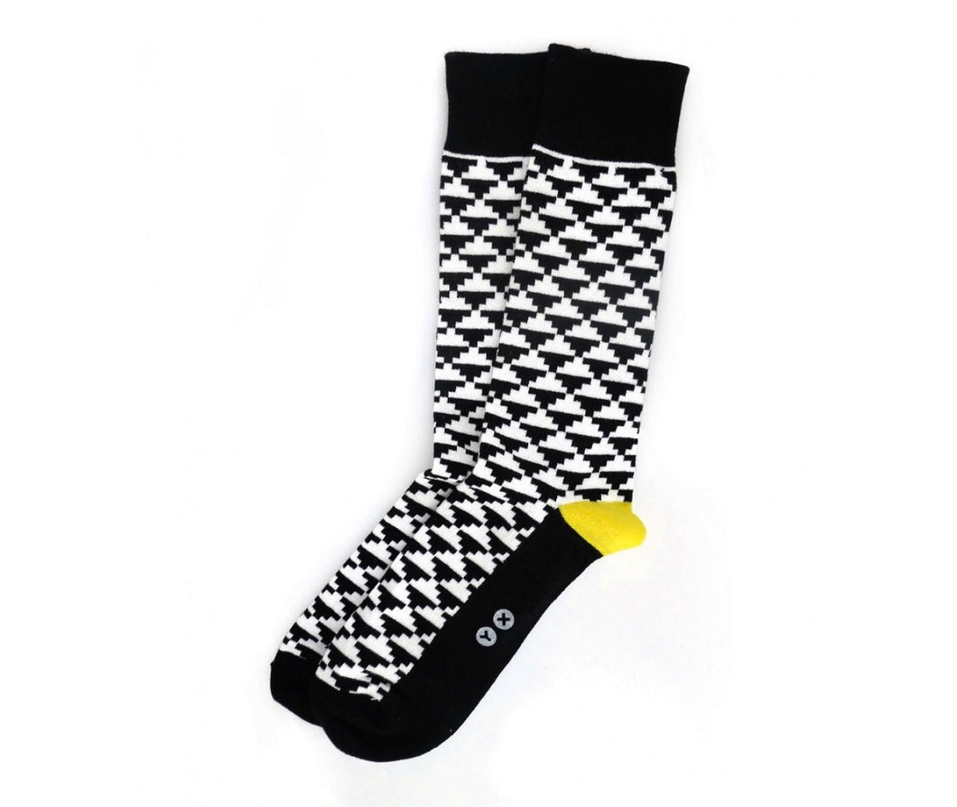 Men's Black & White Patterned Socks