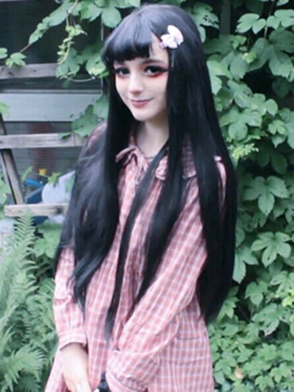Anastasia Cute Black Bang Handtied Synthetic Lace Front Wig DL0051 - princesswig