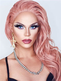 Angelia Peach Pink Synthetic Lace Front Wig DL0016 - princesswig