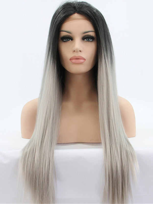 Gloria Ombre Gray Synthetic Lace Front Wig DL0006 - princesswig