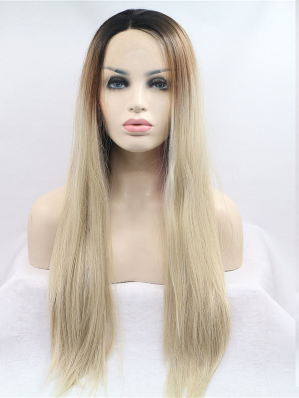 Crystal Ashy Blonde Ombre Synthetic Lace Front Wig DL0010 - princesswig