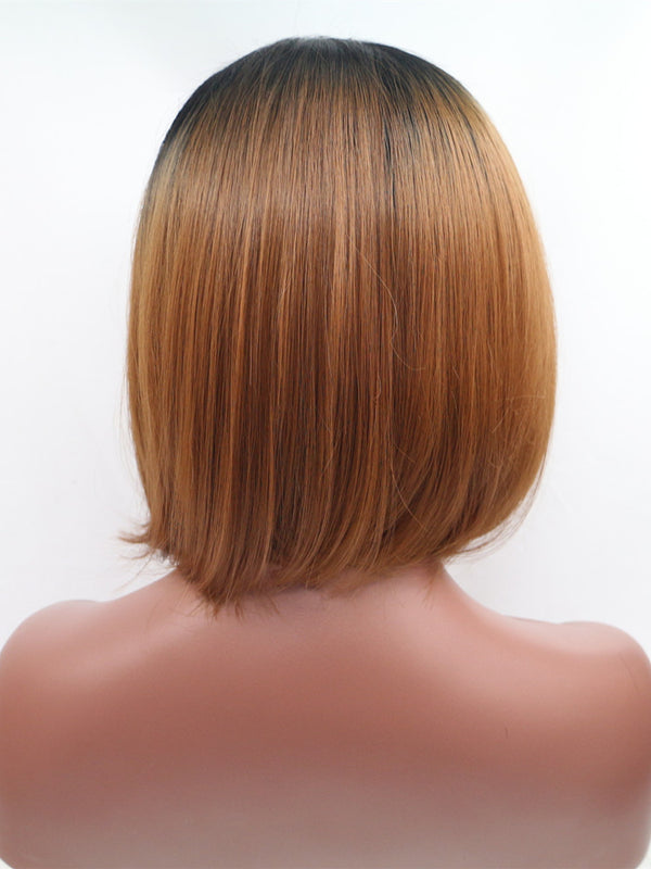 Lily Brown Ombre Bob Synthetic Lace Front Wig DL0012 - princesswig