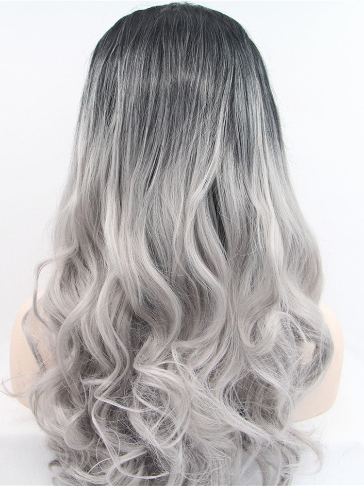 Abby Silver Ombre Wave Synthetic Lace Front Wig DL0018 - princesswig