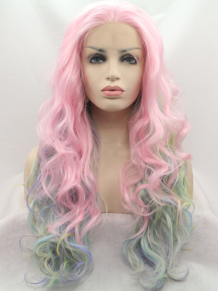 Hilda Rainbow Pastel Synthetic Lace Front Wig DL0020 - princesswig