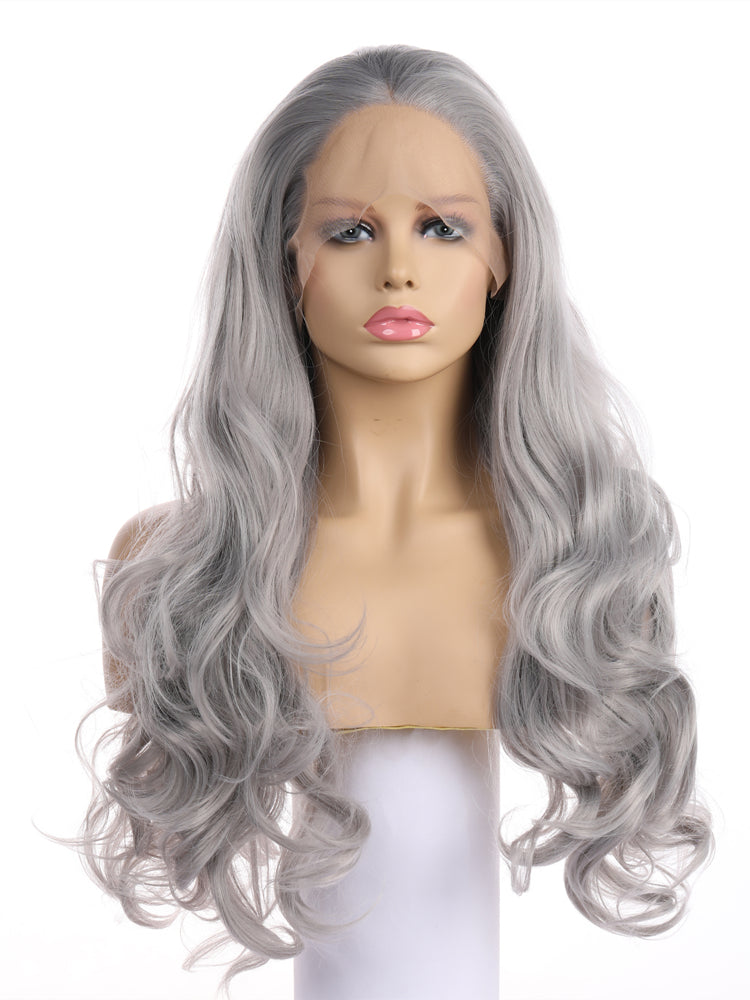 Cora Silver Fox Wave Synthetic Lace Front Wig DL0022 - princesswig